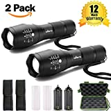 Led Flashlight, T6 Zoomable Handheld 900 High Lumens Tactical Flashlight, Brightest Flash Light with 5 Light Modes for Outdoor Torch Light (2pcs T6 Black LED Tactical Flashlight Set)