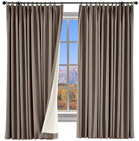 ChadMade Extra Wide Curtain 84 Inch Length Blackout Drape Pinch Pleated Brown Drape