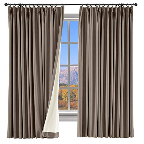 Pinch Pleated Brown Drapes - ChadMade 100% Blackout Curtain Panel Pinch Pleated Brown Drape with Foam Coated Liner Privacy Protection Full Shading Panel for Shift Worker Day Light Sleeper Bedroom (1 Panel)