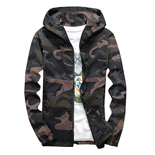 KFSO Camouflage Bomber Jacket Men Hip Hop Slim Fit Bomber Jacket Coat Men's Hooded Jackets (Green, M)