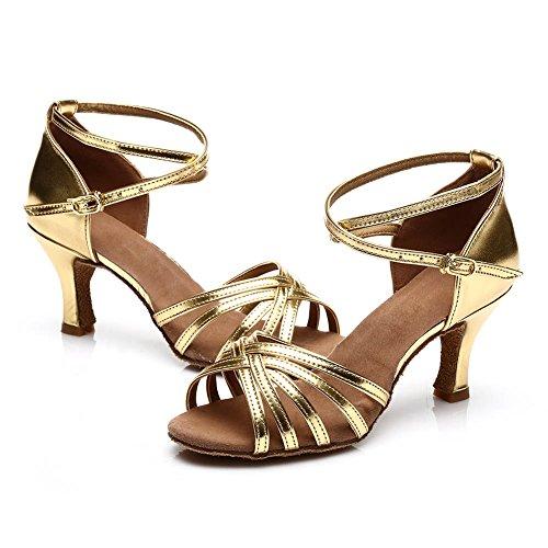 HROYL Zapatos de baile/Zapatos latinos de satén mujeres ES7-F13 el oro