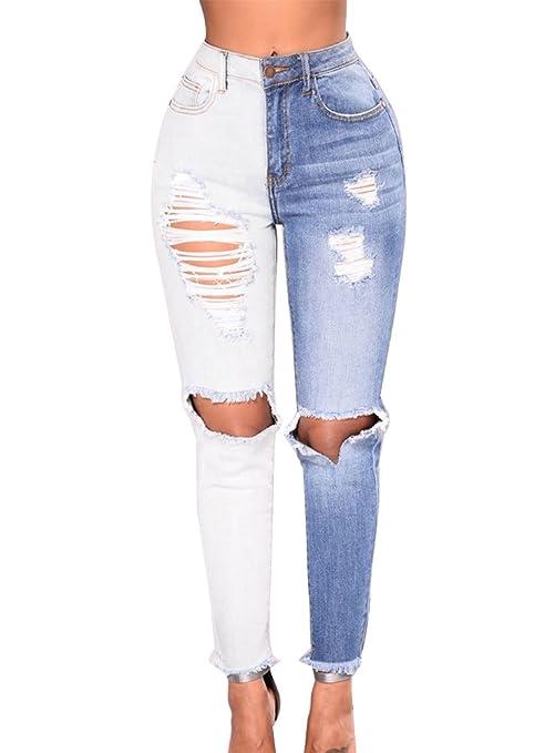 Runyue Denim Classica Jeans Da Donna Baggy Strappati Vita Alta Boyfriend  Femminili Pantaloni Con Fori Blu 248f51efc8c