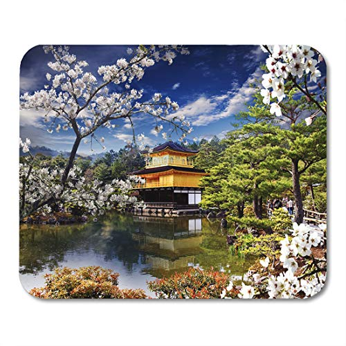Emvency Mouse Pads Kyoto Blue Japan Beautiful Sakura Nice Gold Temple Green Mouse Pad for notebooks, Desktop Computers mats 9.5