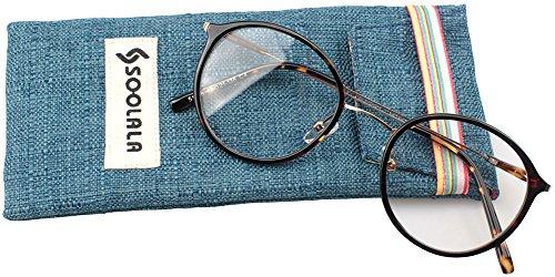 SOOLALA Unisex Vintage Inspired Round Circle Reading Glasses Customized Strengths, Tortoise, - Glasses Round Online Reading