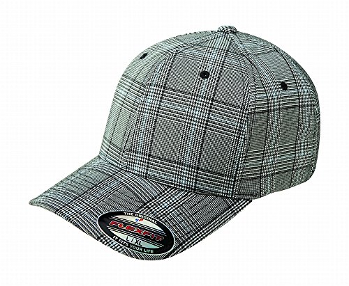 6196 Flexfit Stretch Twill Glen Check Plaid Cap - Large/ X-Large (Black/White Plaid) ()