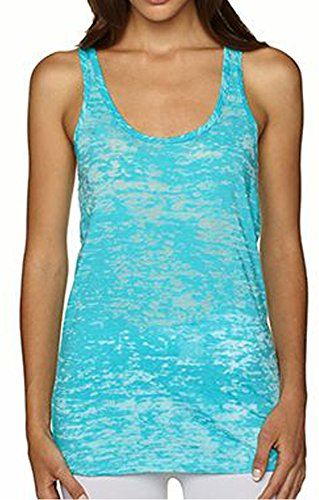 Activewear Running Workouts Clothes Yoga Racerback Tank Tops Women (L, Light Blue)
