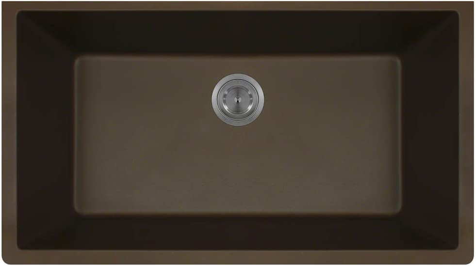 848 Large Single Bowl Quartz Kitchen Sink, Mocha, No Additional Accessories