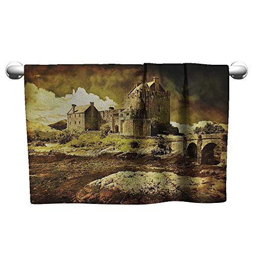 Bensonsve Bath Towel Medieval,Old Scottish Castle Vintage Style European Middle Age Culture Heritage Town Photo,Grey Green,Microfiber Towel for Body - Heritage Cherry Vanity