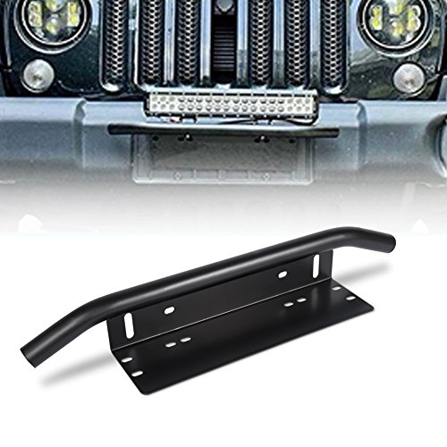 Jenaka Led Light Bar Mounting Bracket Front License Plate Frame Holder for Off-Road Lights LED Work Lamps Lighting Bars Black