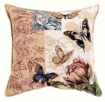 CC Home Furnishings 17 Floral Butterfly Tapestry Square Throw Pillow