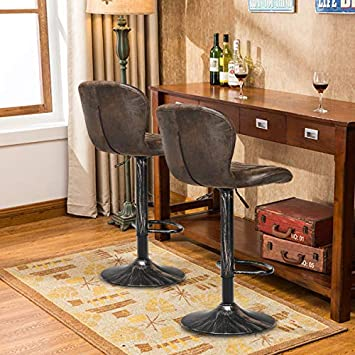 COSTWAY Vintage Bar Stool, Set of 2 Armless Air Lift Adjustable Seat Height with Footrest, PU Leather Cushion and Backrest for Kitchen Dining Living Bistro Pub Counter Back Barstool, Brown