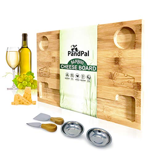 Bamboo Cheese Board Smile & Food Serving Tray - BONUS Stainless Steel KNIVES & BOWLS, Extra LARGE [16x11x1] Wooden Cutting Board Charcuterie Platter for Wine, Cracker, Brie, Meat, Dip, Chip by PandPal (Cheeseboard)