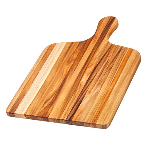 Teak Cutting Board - Rectangle Gourmet Chopping Board With Handle (20 x 14 x .75 in.) - By Teakhaus