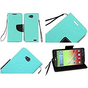 eFashion PU Leather Wallet Credit Card Holder Case with Magnetic Closure Cover for LG L90 TealColor also included Elegant Fashion Gift Bag
