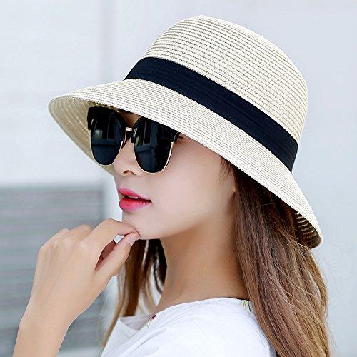 Los ni?os tapa sol del verano sombreros sombreros de paja de verano cuenca plegable solar cap grande fresco junto a la playa cap sombreros son puro c¨®digo color beige tapa cuenca