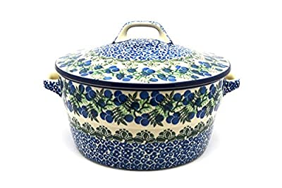 Polish Pottery Baker - Round Covered Casserole - Huckleberry