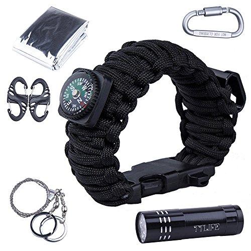 TTLIFE Superb Multi 12 Verwendet Survival Kit (Paracord Armband mit Kompass, Flaschenöffner, Whistle, Feuer-Starter und LED-Taschenlampe, Notfall-Decke, Karabiner, Karten-Messer, Draht-Säge) (Large, Schwarz)