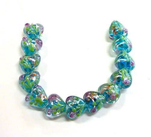 13 Pcs of Turquoise Blue Rose in the Heart Glass Beads 15mm -