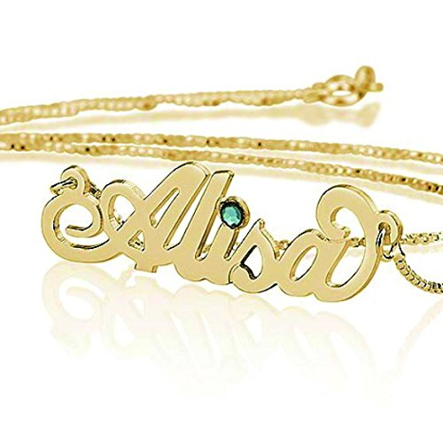 Personalized Name Necklace with Simulated Birthstone - Custom Made Any Name (20, 18k Gold-Plated-Silver) ()