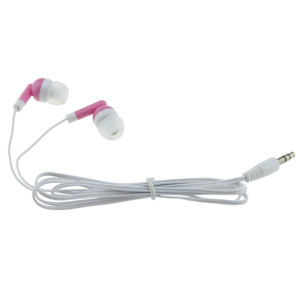 Wholesale Earbuds Bulk Headphones Individually Bagged 50 Pack For Iphone, Android, MP3 Player For Schools, Libraries, Hospitals (Pink)