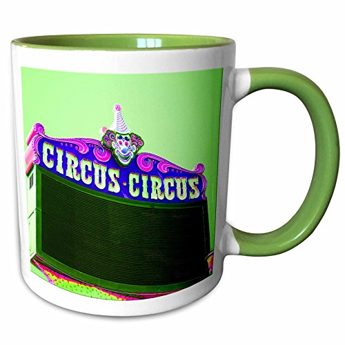 3dRose Jos Fauxtographee Realistic - The Circus , Circus Billboard in Las Vegas, Nevada in Color - 11oz Two-Tone Green Mug - Las Nevada Vegas In Outlet