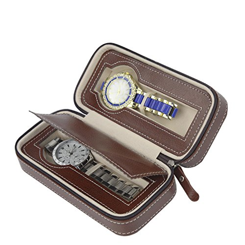 Watch Box Display Storage Case, Tray Zippered Travel Watch Travel Cases for Men (2 Grids Brown) ()