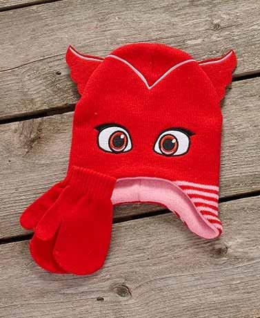 Toddler PJ Masks Owlette Knitted Mitten Hat Set Red