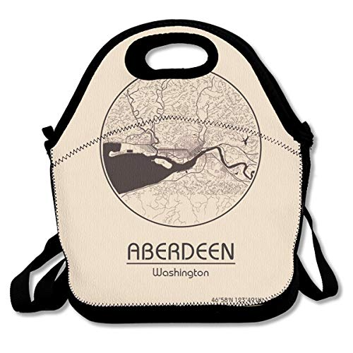 City Map In USA Aberdeen Washington Insulated Lunch Bag Custom Bento Box Picnic Cooler Portable Handbag Lunch Tote Bag With Shoulder Adjustable Strap For Women Girl Men Boy