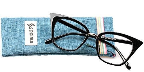 SOOLALA Womens Quality Readers Stylish Oversized Cat Eye Custom Reading Glasses, Black, - Glasses Frames Zero