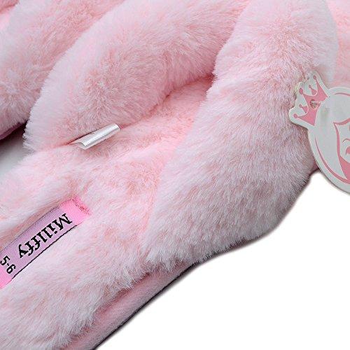 Magerzachte Lente Zomer Dames Indoor Schoenen Mode Vlas Huis Lucy Verwijst Naar Flip Flops Bont Slippers Roze