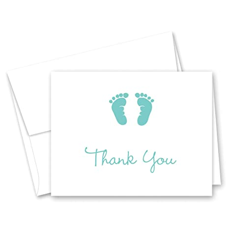 amazon com 50 cnt teal baby feet footprint thank you cards toys
