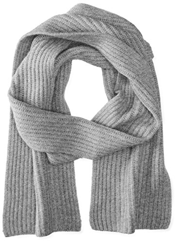 Williams Cashmere Men's Ribbed Scarf, Silver Grey, One (Knit Men Scarf)