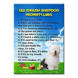 Old English Sheepdog Property Laws Fridge Magnet 8