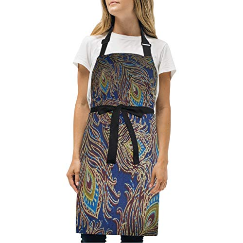 YIXKC Apron Designer Peacock Feathers Adjustable Neck with 2 Pockets Bib Apron for Family/Kitchen/Chef/Unisex