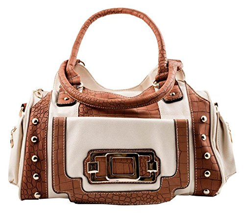 Designer Inspired Two Tone, Satchel Style Handbag with Faux Croc Accents (Beige / Brown)