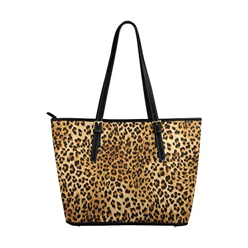 - InterestPrint Fashion Leopard Skins Colorful Wild Animal Print Leather Tote Shoulder Bags Zippered Handbags for Women