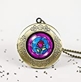 Rose in Glass Dome Bronze Vintage Locket Wish Photo Pendant Necklace Beauty and Beast Childhood Dream Princess Disney,best Gift
