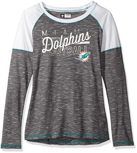 NFL Miami Dolphins Women's Long Sleeve Raglan Open Neck Tee, Medium, Black (Miami Dolphins Golf Shirt)