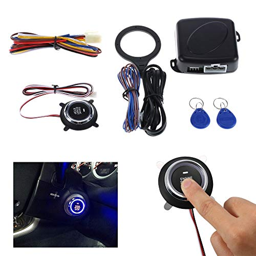 KENTT Car Engine Start Stop Push Button/RFID Auto Engine Starline Lock Ignition Starter Switch Keyless Entry Anti-theft Alarm System ()