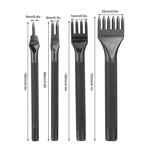 Yangou 4Pcs 1/2/4/6 Prong Leather Craft Tool Sets DIY Handmade Sewing Leather Tools Hole Punches Lacing Stitching Working Chisel (Black) by Yangou (Image #2)