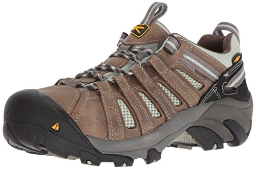 KEEN Utility Women's Flint Low Work Boot,Drizzle/Surf Spray,8 W US