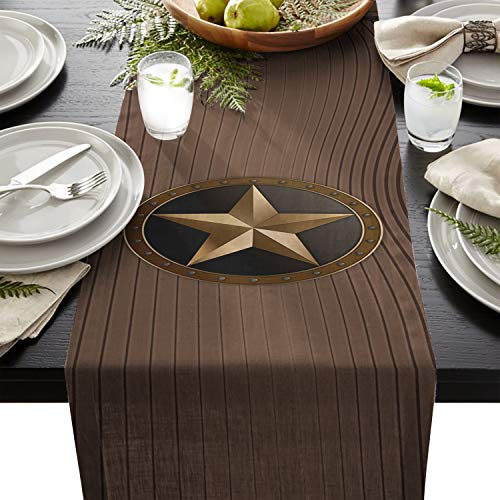 Cloud Dream Home Western Texas Star Table Runner for Morden Greenery Garden Wedding Party Table Setting Decorations 14x72inch]()