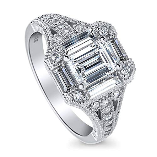 BERRICLE Rhodium Plated Sterling Silver Emerald Cut Cubic Zirconia CZ Art Deco Halo Milgrain Engagement Split Shank Ring 1.67 CTW Size 5