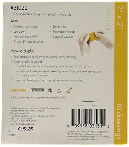 Derma Sciences 31022 Medihoney Calcium Alginate Dressing, 2'' Width x 2'' Length (Pack of 10)