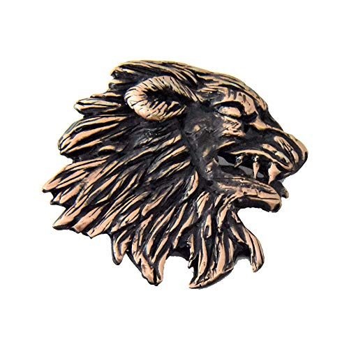 (Creative Pewter Designs Medieval Lion Head Copper Plated Lapel Pin, Brooch, Jewelry, GC005)