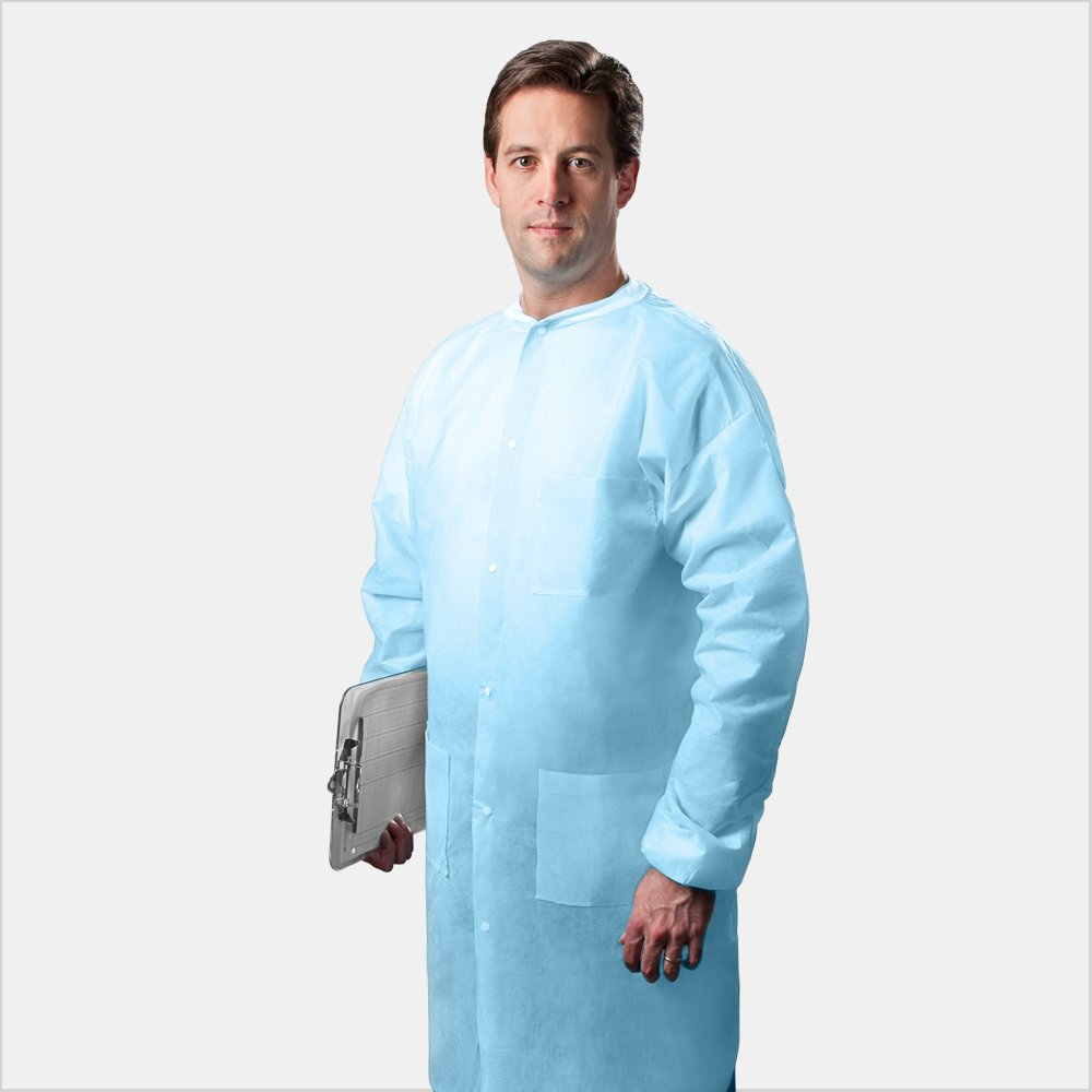 Tronex Multilayer Spunbond Full-Length Lab Coats, Knitted Collar/Cuffs & Pockets, Blue (25, Large)