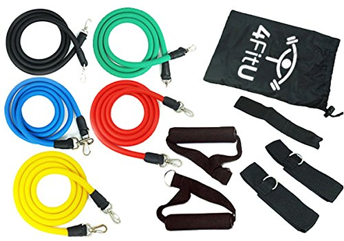 El set de bandas elásticas 4FitU contiene un anclaje para puertas, correas de tobillo, espuma de mango de agarre, 5 bandas elásticas con diferentes niveles de resistencia,