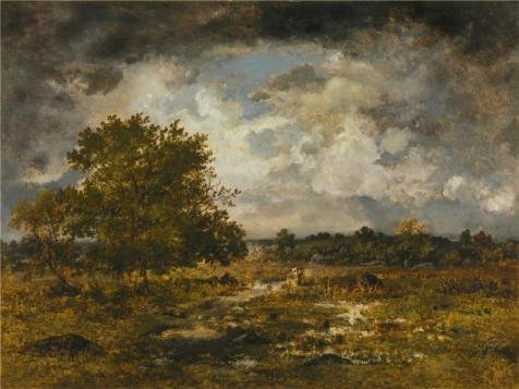 Oil Painting 'Virgile Narcisse Diaz De La Pena,The Approaching Storm,1872' 24 x 32 inch / 61 x 81 cm , on High Definition HD canvas prints is for Gifts And - Kiosk Flat Iron