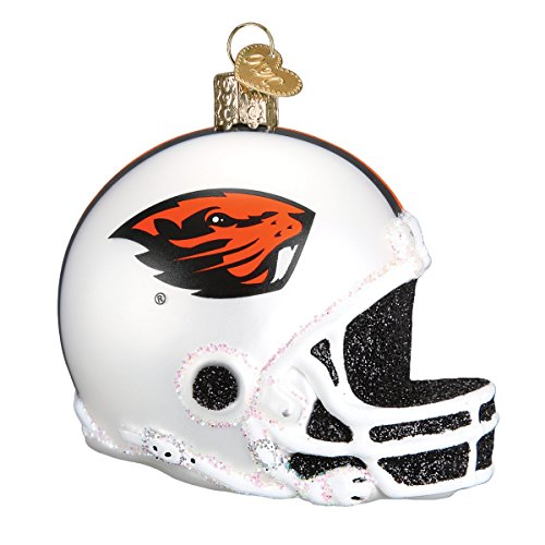 Old World Christmas Glass Blown Ornament with S-Hook and Gift Box, College Football Helmet Collection (Oregon State) ()