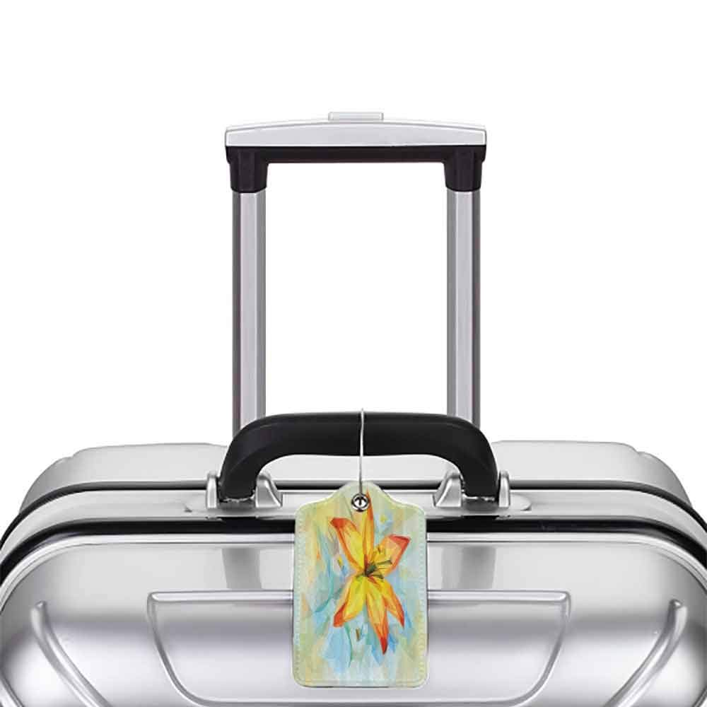Waterproof luggage tag Floral Spring Themed Artistic Flowers Low Poly Pattern Blossoms Nature Mosaic Illustration Soft to the touch Multicolor W2.7 x L4.6